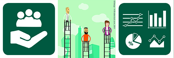 Composite image: FRA icon of community assistance; Illustration of 3 people on ladders of different heights; charts and graphs
