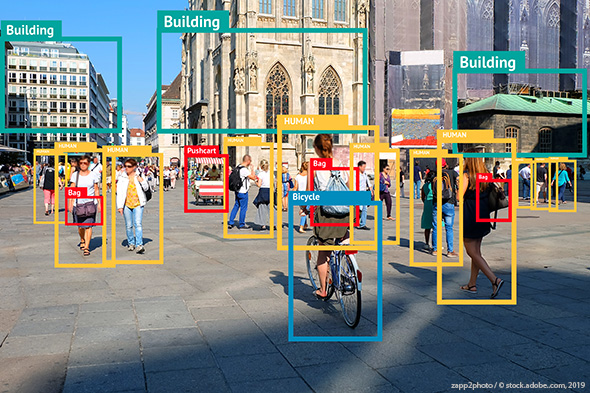 Image of a city center with application detecting and framing different objects in picture.