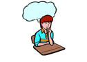 Clip art picture - woman thinking