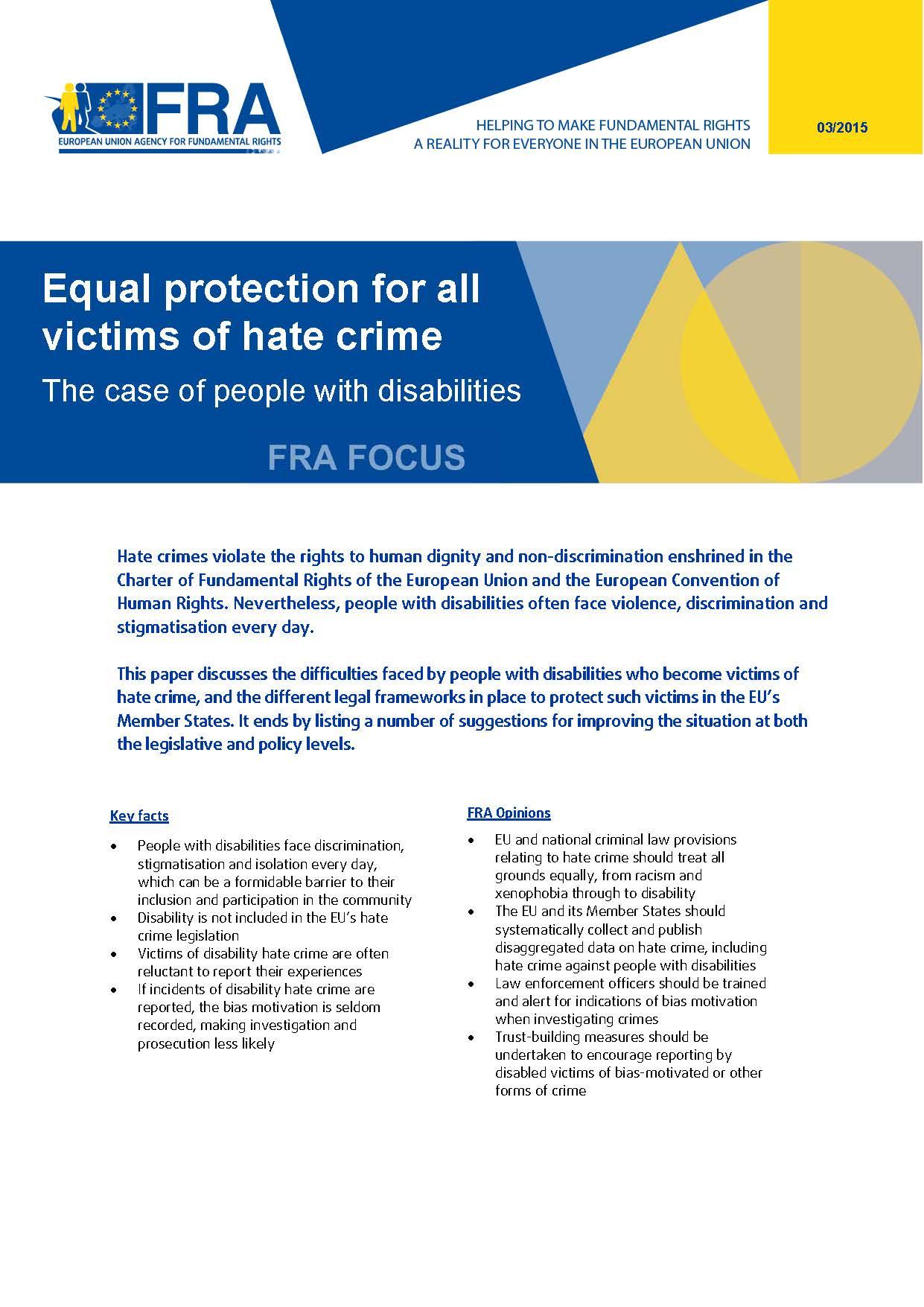 Equal protection for all victims of hate crime - The case of people with disabilities