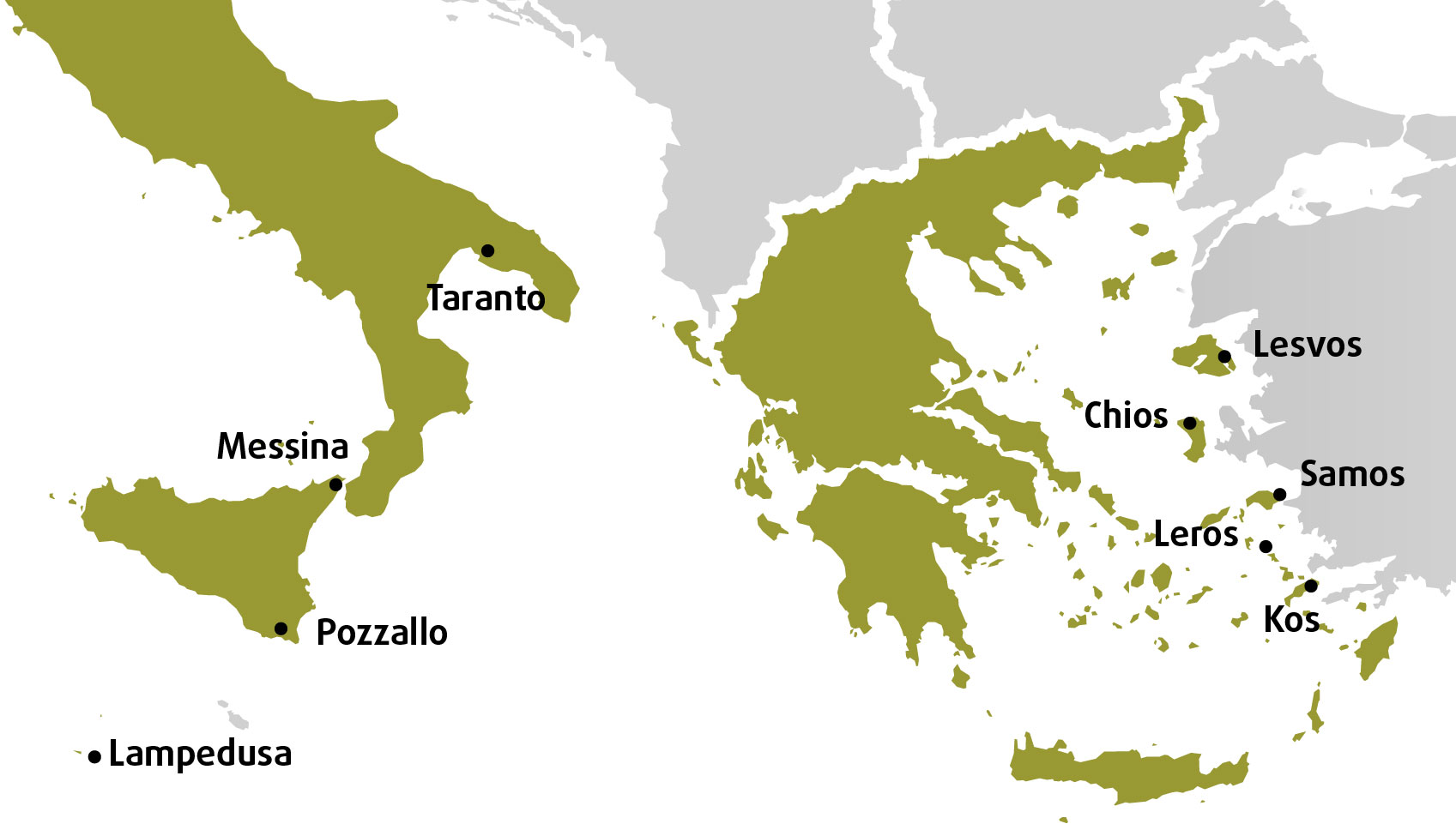 Map of hotspots, 5 in Greece and 5 in Italy