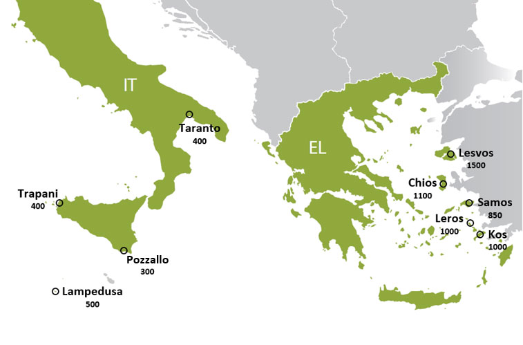 Map of hotspots, 5 in Greece and 4 in Italy and their reception capacity