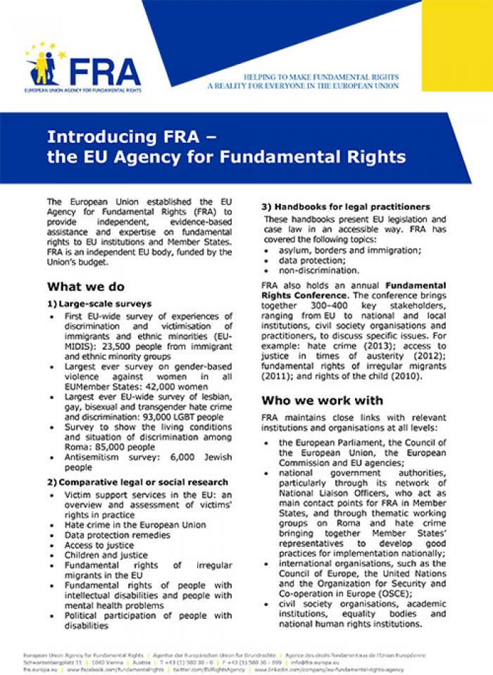 Introducing FRA – the EU Agency for Fundamental Rights
