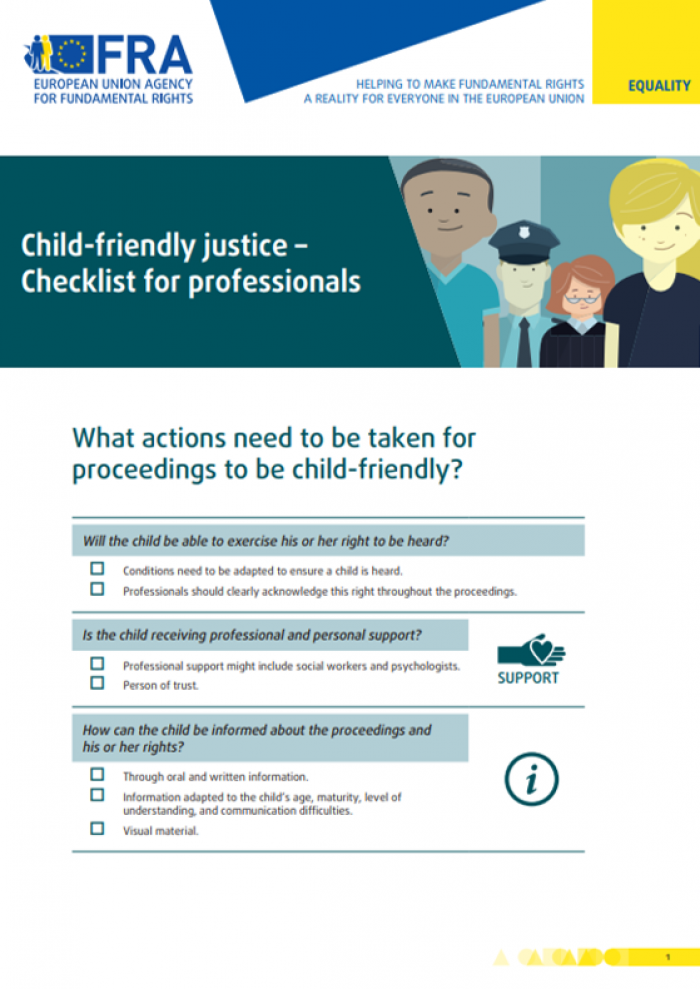 child friendly justice checklist for professionals european