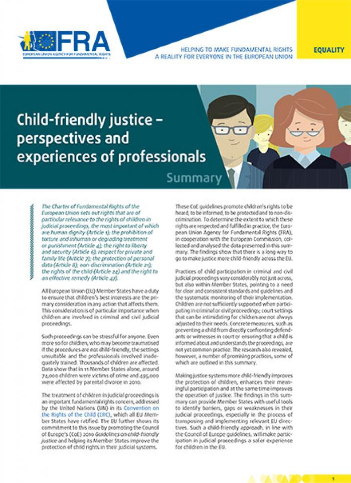 Child-friendly justice – perspectives and experiences of professionals – Summary