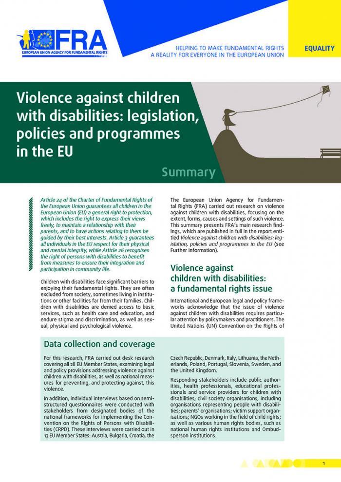 Violence against children with disabilities: legislation