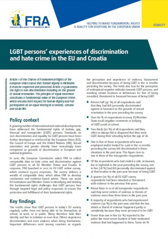 LGBT persons' experiences of discrimination and hate crime in the EU and  Croatia