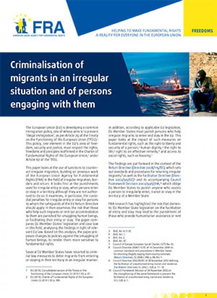 Criminalisation of migrants in an irregular situation and of persons engaging with them
