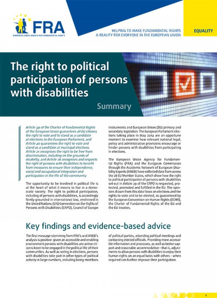 The right to political participation of persons with disabilities - Summary