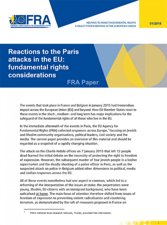 reactions to the paris attacks in the eu fundamental rights  reactions to the paris attacks in the eu fundamental rights considerations