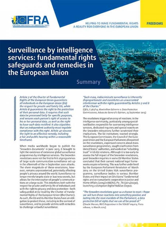 Surveillance By Intelligence Services Fundamental Rights Safeguards - Data protection policy template free download