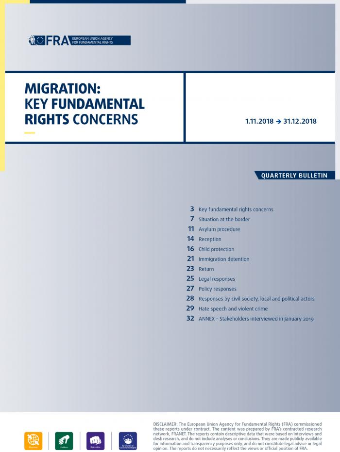Migration: Key fundamental rights concerns - Quarterly