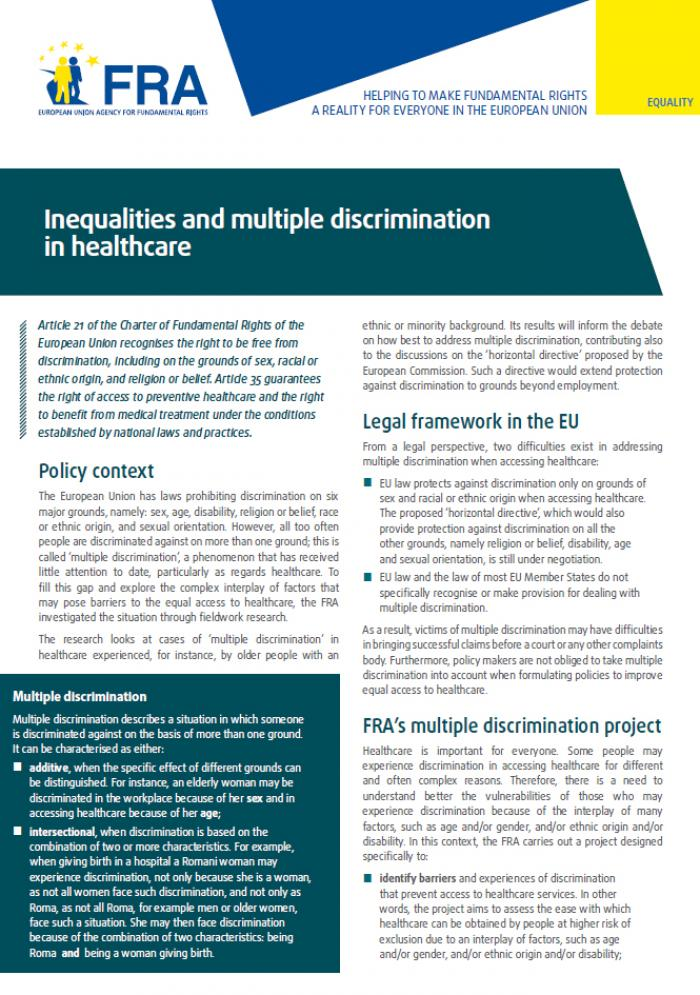 Factsheet: Inequalities and multiple discrimination in healthcare