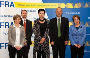 f.l.t.r.: Joanna Goodey, FRA, Sami Nevala, FRA, Ambassador Miroslava Beham, OSCE, Morten Kjaerum, FRA, June Zeitlin, OSCE