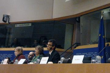 FRA's Adriano Silvestri presents the Agency's report on fundamental rights at Europe's southern sea borders to the European Parliament's LIBE Committee, 8 April 2013.