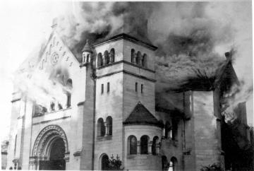 Baden Baden synagogue goes up in flames on Kristallnacht, 10 November 1938.