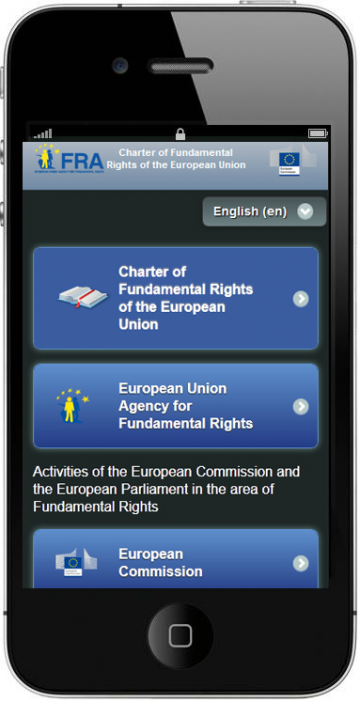 The EU Charter app gives easy access to the Charter on smartphones and tablets.
