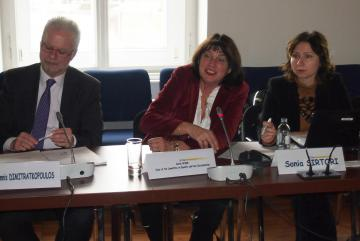 fltr: Ioannis Dimitrakopoulos, Head of Department Equality and Citizens' Rights, FRA, Gisela Wurm, Chair of the Committee on Equality and Non-Discrimination, Sonia Sirtori, Head of the Secretariat, Committee on Equality and Non-Discrimination