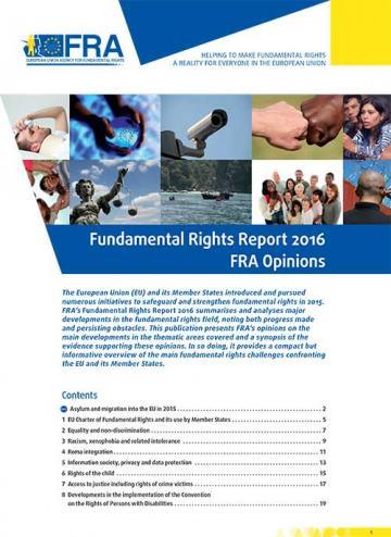 Rapport sur les droits fondamentaux 2016 – Avis de la FRA