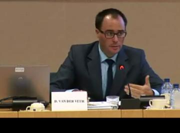 Dennis van der Veur, FRA Programme Manager, presents the LGBT survey results at the LIBE Committee