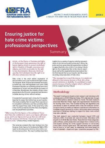 Ensuring justice for hate crime victims: professional perspectives - Summary