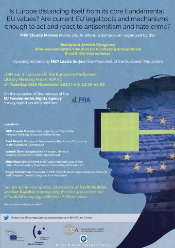 European Parliament antisemitism symposium poster