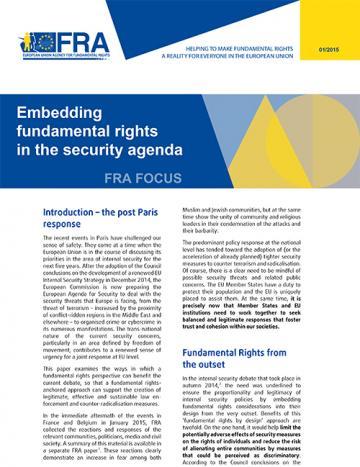 Intégrer les droits fondamentaux dans l'agenda pour la sécurité