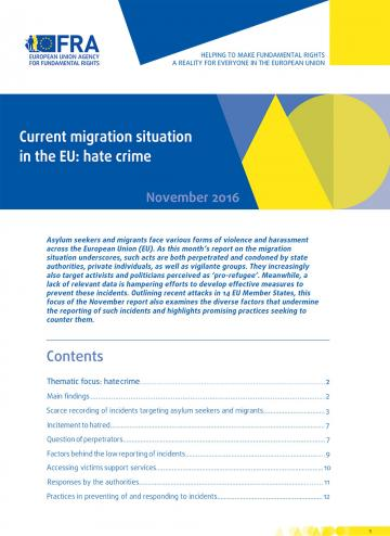 Current migration situation in the EU: hate crime - November 2016