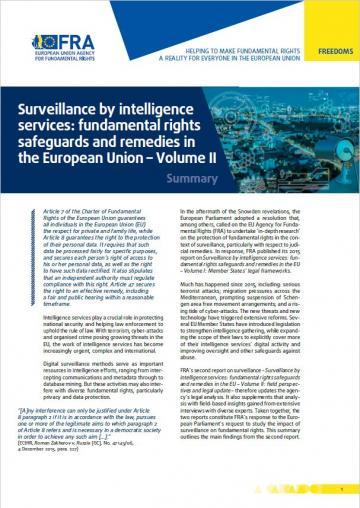 Surveillance par les services de renseignement : protection des droits  fondamentaux et voies de recours dans l'Union européenne – Volume II – Résumé