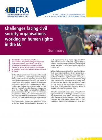 Difficultés rencontrées par les organisations de la société civile actives dans le domaine des droits de l'homme dans l'UE - Résumé