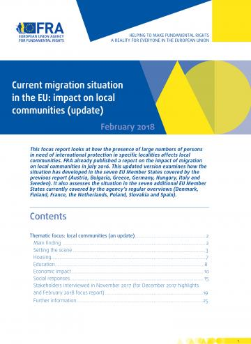 Current migration situation in the EU: Impact on local communities (update)