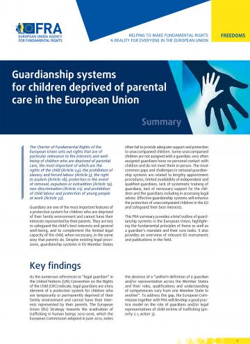 Guardianship systems for children deprived of parental care in the European Union - Summary