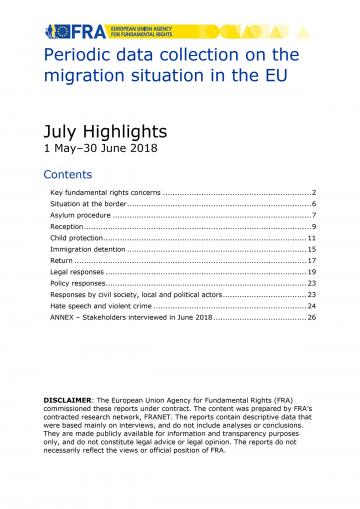 Periodic data collection on the migration situation in the EU - July 2018 Highlights