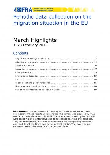 Periodic data collection on the migration situation in the EU - March 2018 Highlights