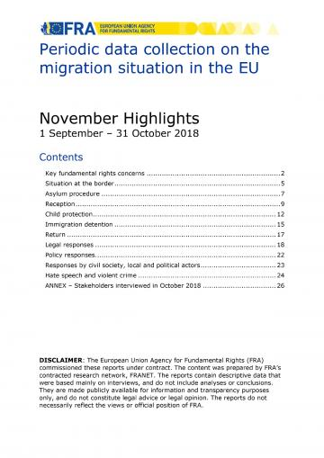 Periodic data collection on the migration situation in the EU - November 2018 Highlights