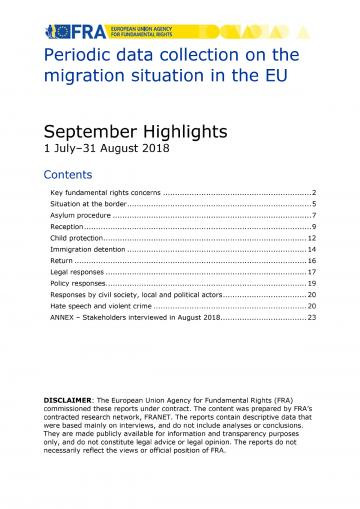 Periodic data collection on the migration situation in the EU - September 2018 Highlights