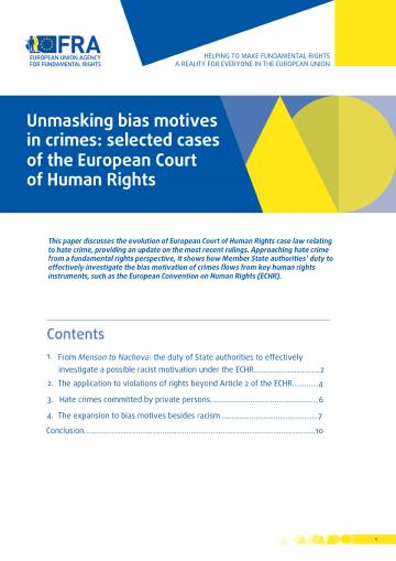 Unmasking bias motives in crimes: selected cases of the European Court of Human Rights