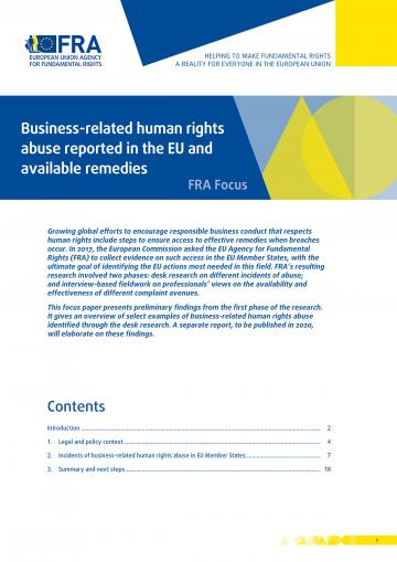 Business-related human rights abuse reported in the EU and available remedies