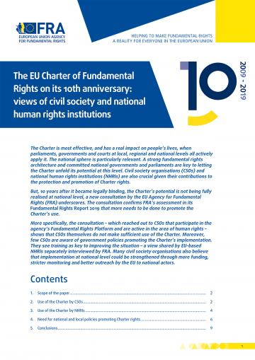 The EU Charter of Fundamental Rights on its 10th anniversary: views of civil society and national human rights institutions