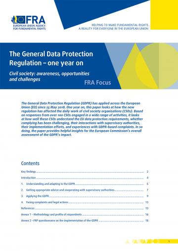 The General Data Protection Regulation – one year on