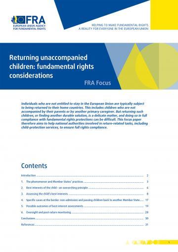 Returning unaccompanied children: fundamental rights considerations