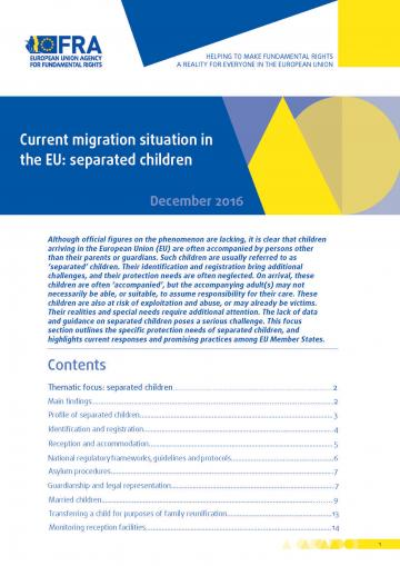 Current migration situation in the EU: separated children - December 2016