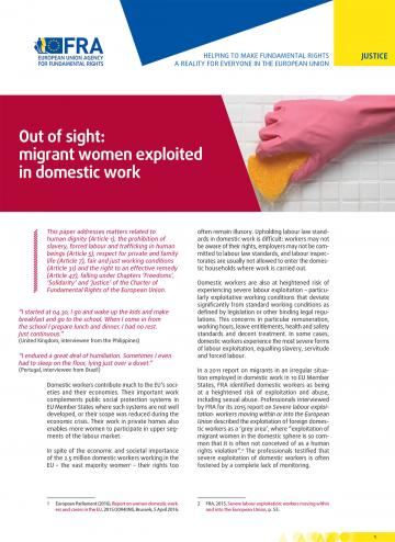Out of sight: migrant women exploited in domestic work