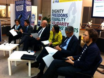 Panel debate at the opening of the fundamental rights exhibition on 26 November 2012 in Brussels. R-L: Jan Albrecht MEP, Giovanni Buttarelli (EDPS), Marie-Helene Boulanger (DG Justice), Jan Mulder MEP, Mario Oetheimer (FRA), Kinga Göncz MEP
