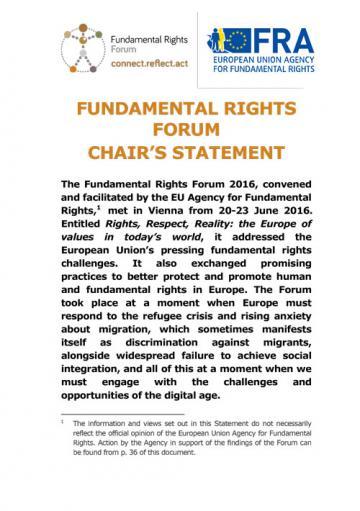 Forum des droits fondamentaux - Déclaration du Président