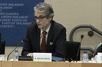 FRA expert Gabriel Toggenburg addresses a LIBE Committee hearing on fundamental rights, 30 March 2015.