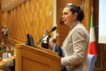 Laura Boldrini, President of the Chamber of Deputies, addresses the FRC in Rome, 10 Nov 2014