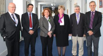 f.l.t.r: Conan McKenna, Irish Department of Justice and Equality, Mario Oetheimer, EU Agency for Fundamental Rights (FRA), Kathleen Lynch, T.D., Irish Minister of State for Justice and Equality, Sunniva McDonagh, Irish Human Rights and Equality Commission, Gerard Quinn, National University of Ireland, Galway, Michael Bach, Canadian Association for Community Living