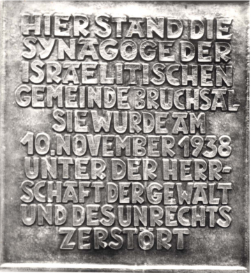 A memorial to a synagogue destroyed during Kristallnacht in Bruchsal, Germany.