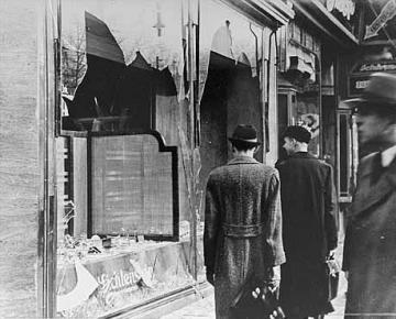 "Physical damage to a shopfront done by the Nazis during the ""Kristallnacht"" pogrom."